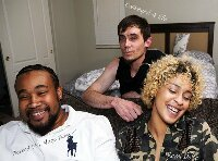 INTERRACIAL THREESOME... REMI DOLCE FUCKS BOYFRIEND HUGE BAM AND WHITE BOY COCKEYED